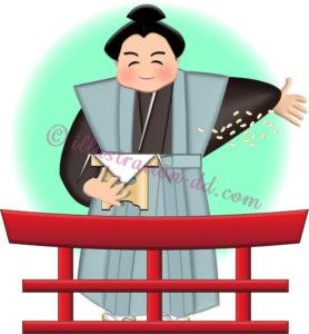 神社で節分の豆をまくお相撲さん
