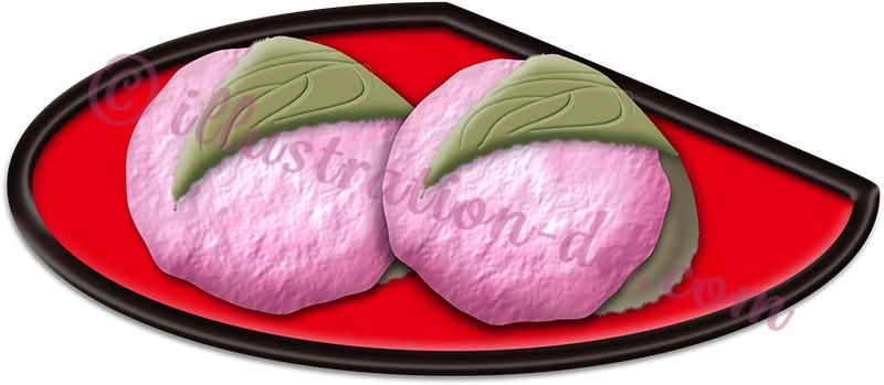 桜餅(道明寺・関西)のイラスト