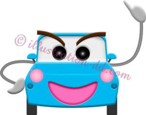 自動車(ブルー)の擬人化イラスト