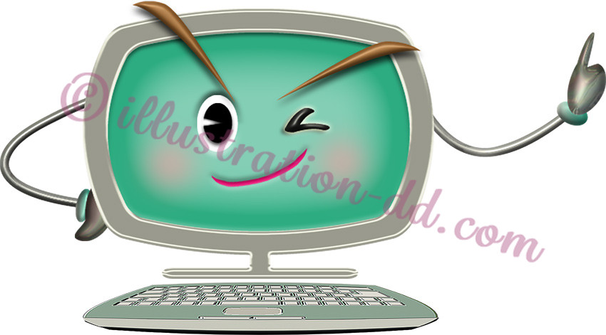 パソコンの擬人化イラスト