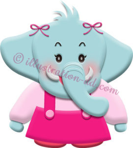 ゾウのキャラクター・女の子のイラスト