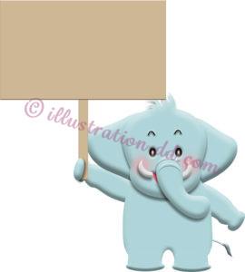 プラカードを持つ可愛いゾウのイラスト