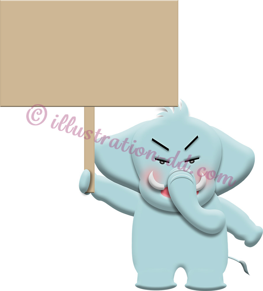 プラカードを持つ怒った顔ゾウのイラスト