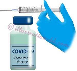 新型コロナ(COVID-19)ワクチンと注射器のイラスト