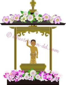 花祭り・潅仏会(かんぶつえ)の花御堂のイラスト