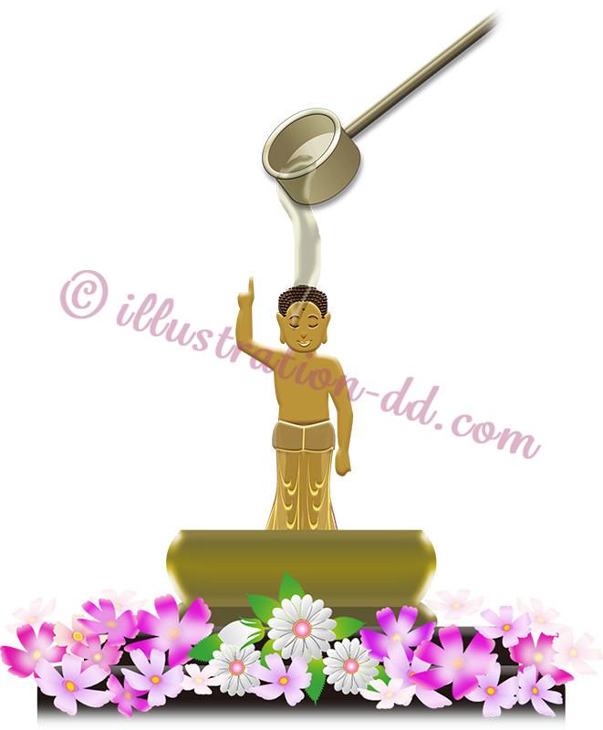 花祭りで仏像に甘茶のイラスト