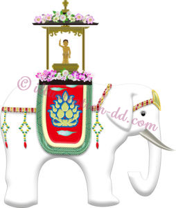 花祭りの白いゾウのイラスト