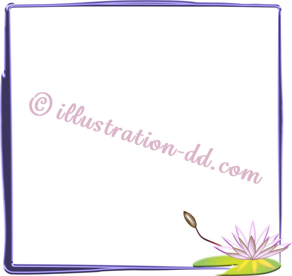 蓮(はす)の飾り枠イラスト