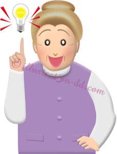 ひらめく(電球)おばあさん1のイラスト