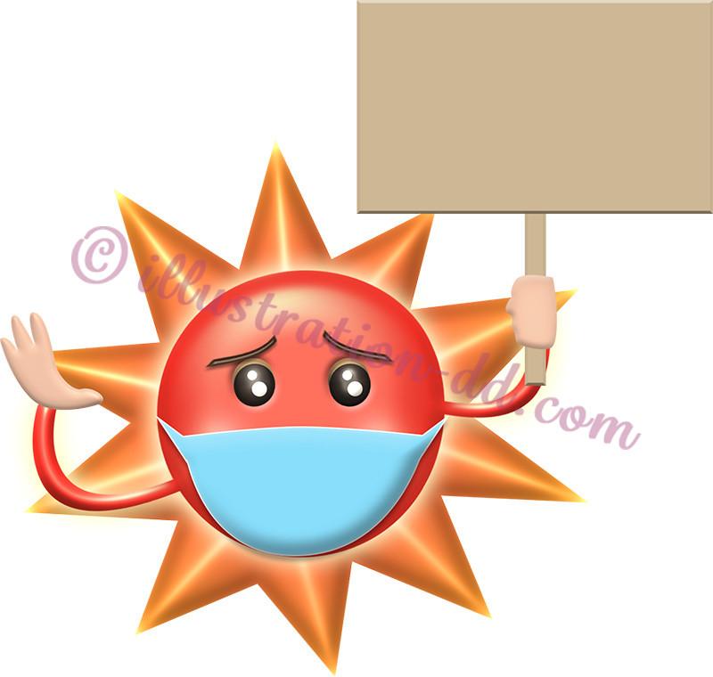 マスクをしてプラカードを持つ太陽キャラのイラスト