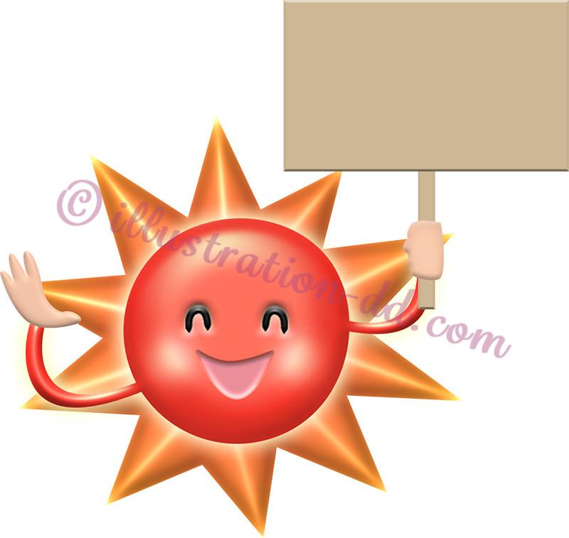 プラカードを持つ太陽の擬人化イラスト
