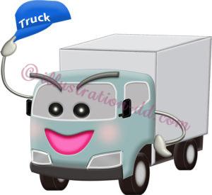 配送トラックの擬人化キャラクターのイラスト
