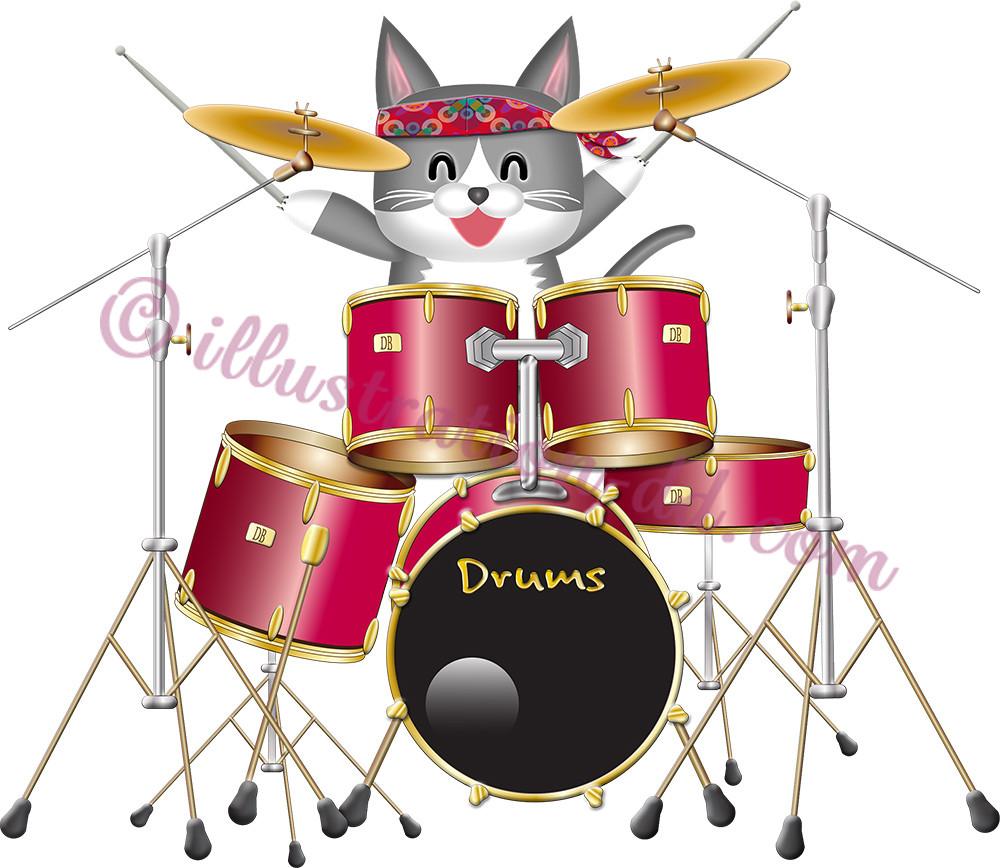 ドラムを叩く可愛い猫ドラマーのイラスト