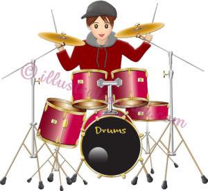ドラムを叩く可愛い女の子ドラマーのイラスト