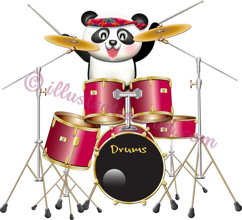ドラムを叩く可愛いパンダのドラマーのイラスト