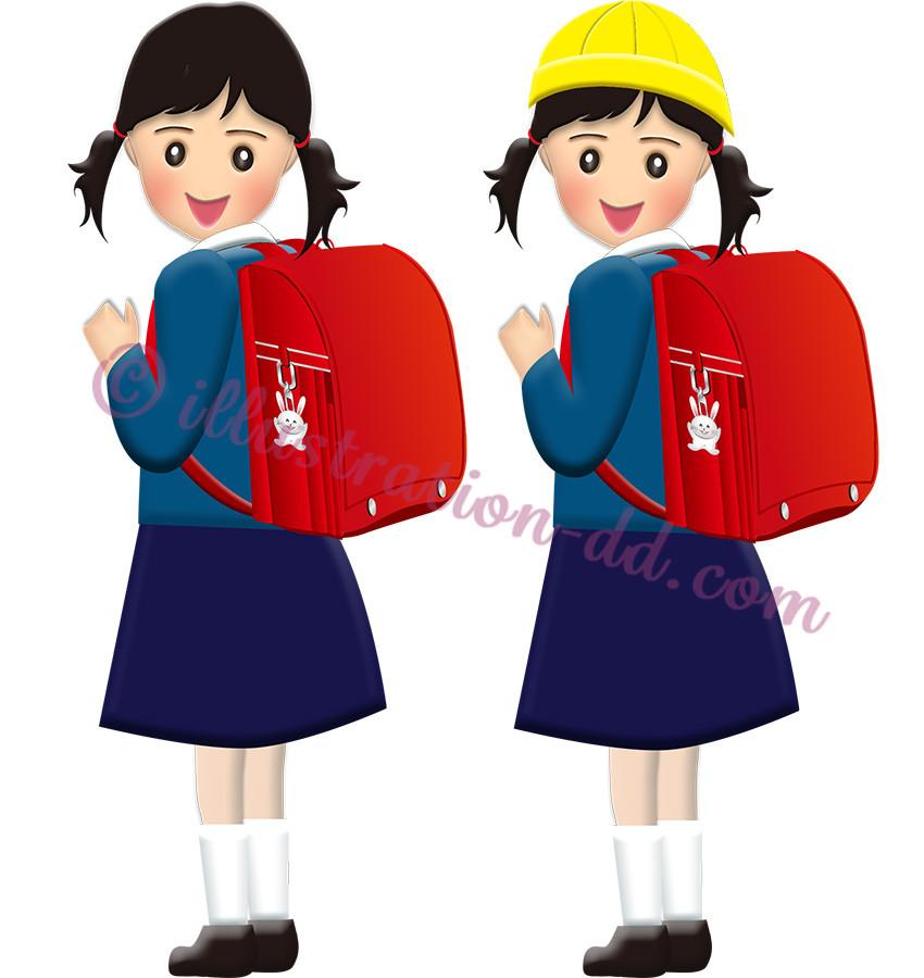 赤いランドセルの小学生・女の子