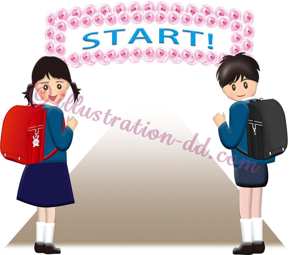 「START!」文字とランドセルの小学生のイラスト