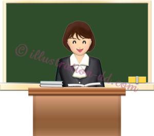 黒板と女性の先生のイラスト