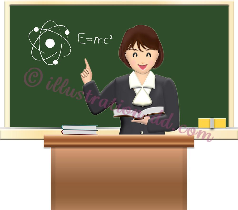 本を持って授業する女の先生 のイラスト