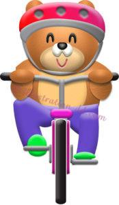 自転車の乗るクマのイラスト