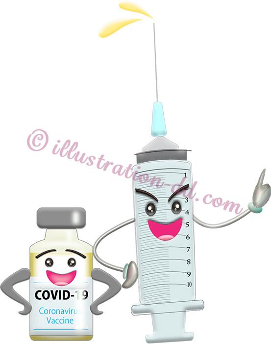 注射器とワクチンのCOVID-19キャラクターのイラスト