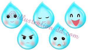 雨粒キャラの表情5種のイラスト