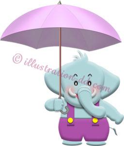傘をさすゾウのキャラクターの擬人化イラスト