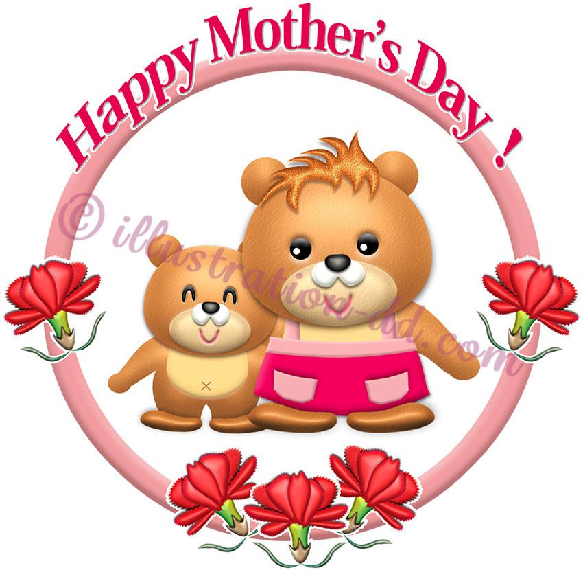 かわいいクマ母子の「母の日」タイトルのイラスト