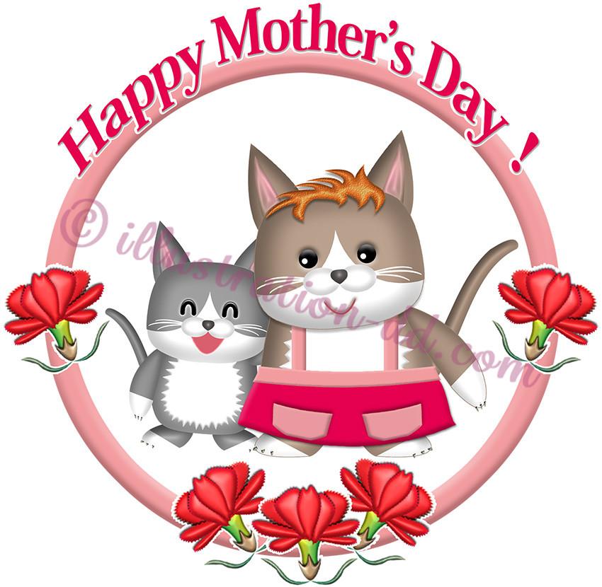 かわいいネコ母子の「母の日」タイトルのイラスト