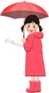 赤い傘をさすレインコートの女の子のイラスト