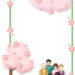 お花見する家族の飾り枠
